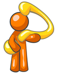 35485-clip-art-graphic-of-an-orange-guy-character-holding-a-curvy-question-mark-by-jester-arts
